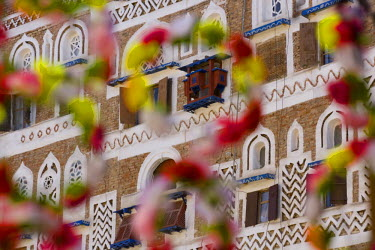 YM01113 Frontage of buildings & floral decorations, Sana'a, Yemen