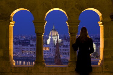 HU01230 Hungarian Parliament seen from Fishermans Bastion, Budapest, Hungary, MR