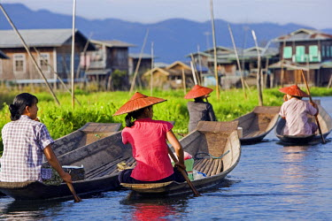 Myanmar, Burma, Lake Inle. A group of Intha women paddling their flat-bottomed wooden boats to market with typical Intha houses on stilts in the background.