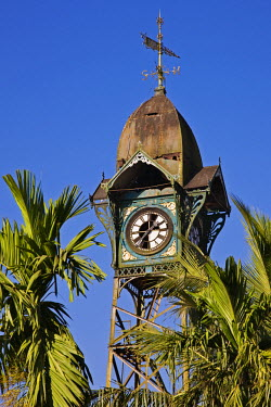 MYA1327 Myanmar, Burma, Rakhine State. The old clock tower at Sittwe, complete with weather vane, was erected by the Dutch on a steel structure in the eighteenth century.