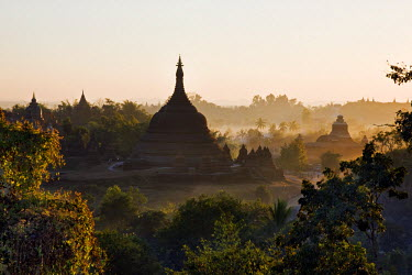 MYA1372 Myanmar, Burma, Mrauk U. Late afternoon sun bathes the historic bell-shaped temples of Mrauk U which were built in the Rakhine style between the 15th and 17th centuries.