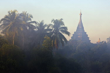 MYA1376 Myanmar, Burma, Mrauk U. Early morning mist shrouds an historic temple of Mrauk U which was built in the Rakhine style between the 15th and 17th centuries.