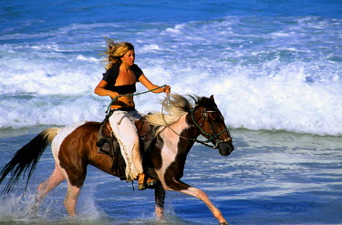SA04_SPI0047_M Brazil, State of Rio Grande do Norte, Natal, Tibau do Sul. Woman riding horse on the beach. (MR)