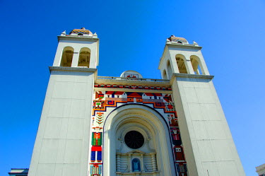 SA08_CMI0007_M El Salvador, San Salvador, Gerardo Barrios Park. Cathedral tiles by famous El Salvador artisit, Ferando Llort.
