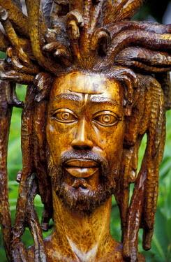 CA22_GJO0014_M Caribbean, Jamaica Rastafarian wood sculpture