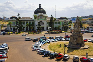 MOZ1284 Mozambique, Maputo. The Railway Station on the Praça dos Trabalhadores in the Baixa district of Maputo. The railway station was once the most important railway line in South Africa. It was built by a...