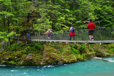 Footbridge, Routeburn Track, near Glenorchy, South Island, New Zealand