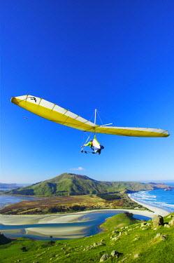 AU02_DWA0407_M Hang Glider, Otago Peninsula, near Dunedin, South Island, New Zealand