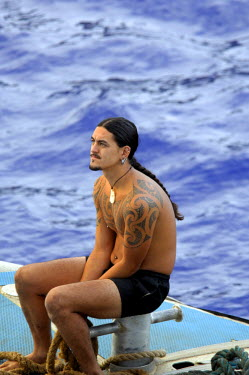 OC10_CMI0002_M South Pacific, British Overseas Teritory, Pitcairn Island. With only 50 residents, Pitcairn is notable for being the least polulated jurisdiction in the world. Local man with tattoos.