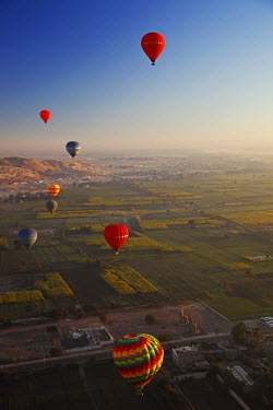 EGY1575 Egypt, Qina, Al Asasif, View of eight hot air balloons from the basket of another hot air balloon at dawn over the Valley of the Kings and Queens with a view of Luxor and the River Nile in the backgro...