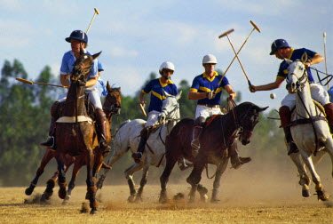 KEN6272 A polo match at Nairobi�s polo ground on the outskirts of the city.