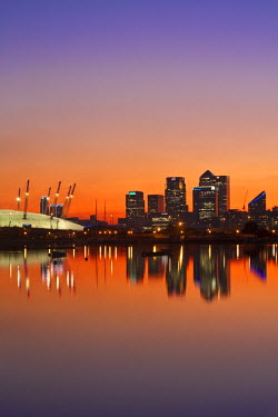 UK01877 England, London, Newham,O2 Arena and Canary Wharf buildings reflecting in  Royal Victoria Docks