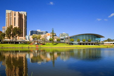 AUS1051 Australia, South Australia, Adelaide.  The Adelaide Convention Centre on the banks of the River Torrens.