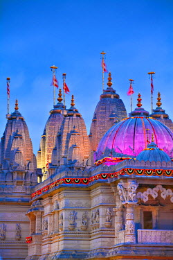 UK01901 England, London, Neasden, Shri Swaminarayan Mandir Temple illuminated for Hindu Festival of Diwali
