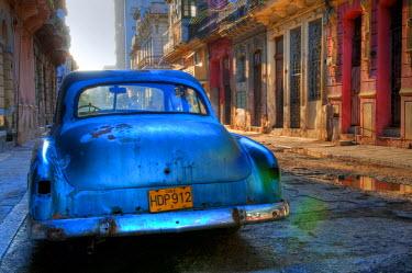CUB1348AW Blue car in Havana, Cuba, Caribbean