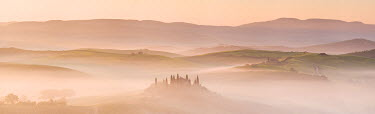 ITA9011AW Belvedere in mist, Val D'Orcia, Tuscany, Italy