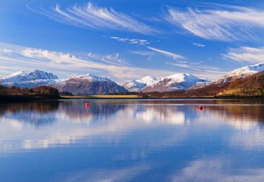 SCO33127AW Reflections in Loch Leven, Glencoe, Scotland, UK