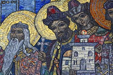 UA02060 Mosaic on Trinity Cathedral (1912), Holy Dormition Pochayiv Lavra, Pochayiv, Ternopil Oblast, Ukraine