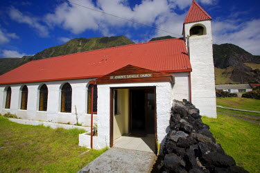 TDC1005 Tristan Da Cunha Island, settlement capital of Edinburgh.   The frontage of the capitals St Joseph's Catholic Church