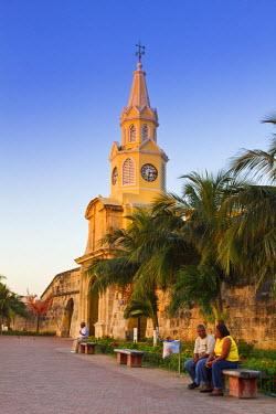CMB01266 Colombia, Bolivar, Cartagena De Indias, Plaza de la Paz, Porta del Reloj  - the main gateway to the old walled city and Clocktower