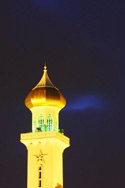 BRU0006AW Omar Ali Saifuddien Mosque at dusk, Bandar Seri Begawan, Brunei Darussalam