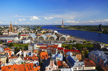 LAT1134AW View of Old Town with Daugava River, Riga, Latvia