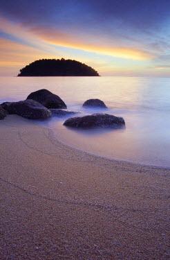MAY0092AW Beach on Pulau Pangkor at dusk, Perak, Malaysia