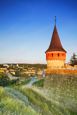 UKR1185AW Tower of Old Castle with Old Town in background, Kamyanets-Podilsky, Podillya, Ukraine