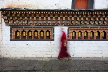 Scene from the Tashichodzong in Thimpu, Bhutan. Tashichoedzong is a Buddhist monastery and fortress.
