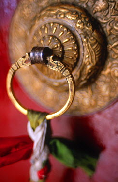 IND5785 Decorated Door Handle, Thikse Monastery, Ladakh, North West India