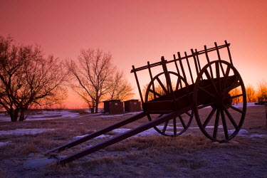 CAN2565AW Saskatchewan, Canada. An old cart in a field