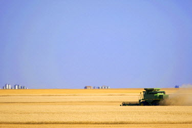 CAN2581AW Saskatchewan; Canada. A combine harvesting wheat on the canadian prairie