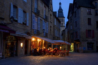 FRA6671AW A night time cafe scene on the main square in Sarlat France