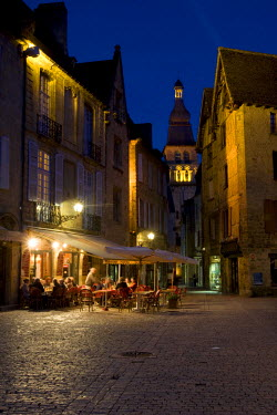 FRA6673AW A night time cafe scene on the main square in Sarlat France