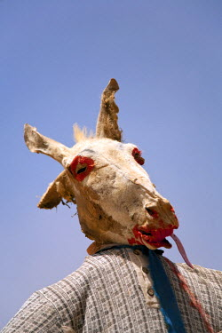 SUD1171 Sudan. A ghoulish scarecrow fashioned from a mummified donkey head stands on the road to the Nile's Sixth Cateract.