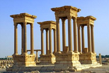 SY1313 Syria, Palmyra. The Tetrapylon on the cardo maximus.