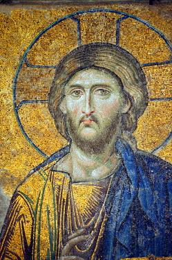 TUR0141 Turkey, Istanbul, Hagia Sophia. Detail from the Deesis mosaic.