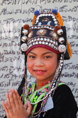 TPX15804 Thailand, Chiang Mai, Chiang Mai Flower Festival, Akha Hilltribe Girl