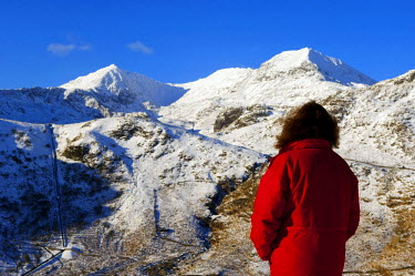 WAL7025 Wales, Gwynedd, Snowdonia. A walker looks westwards to the snow covered slopes of Snowdon. (MR)