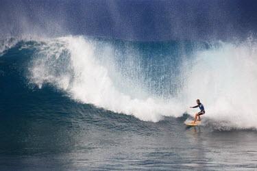 CV01022 Cape Verde, Sal, Surfers in Ponta Preta, Cape Verde's most famous surfing spot