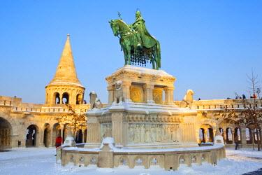 HU01254 St. Stephen Statue, Fishermens Bastion, Budapest, Hungary