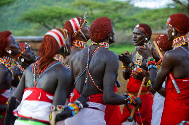 KEN6669 Kenya, Laikipia, Ol Malo.  Samburu warriors sing, clap and dance in their traditional dress at a manyatta