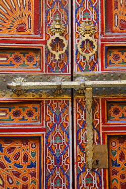 MOR1890 Door in the old medina of Fes, Morocco