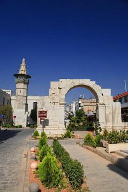 SY004RF Syria, Damascus, Old Town, Christian Quarter, Bab Sharqi, Ruins of historic Roman Arch