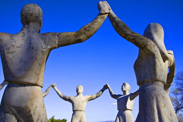 SPA3263 A sculpture of people performing the Sardana, the traditional Catalan dance in Montjuic, Barcelona, Spain