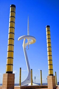 SPA3271 Telecommunications tower by architect Santiago Calatrava, Montjuic, Barcelona. Catalonia, Spain