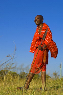 KEN7178 Kenya, Masai Mara.  Safari guide, Salaash Ole Morompi, one of the guides at Rekero Camp. (MR)