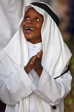 Kenya. A happy young Muslim boy from Lamu during Maulidi, the celebration of Prophet Mohammed�s birthday.