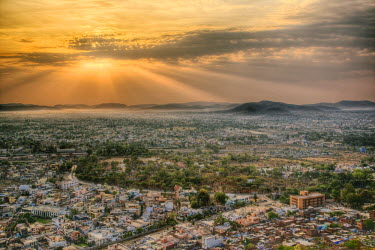 AS10_AJE0420 Elevated view of Udaipur, India at sunrise.