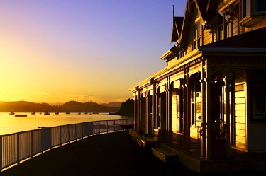 New Zealand, Early light on Fullers Building, Paihia, Bay of Islands, Northland